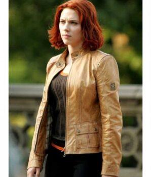 Scarlett Johansson Leather Brown Natasha Romanoff Jacket