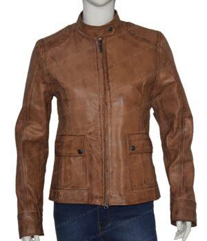 The Avengers Natasha Romanoff Brown Jacket Front