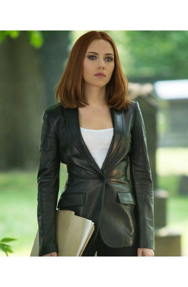 The Winter Soldier Natasha Romanoff Leather Blazer Jacket