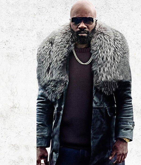 Black and Blue Mike Colter Black Shearling Coat