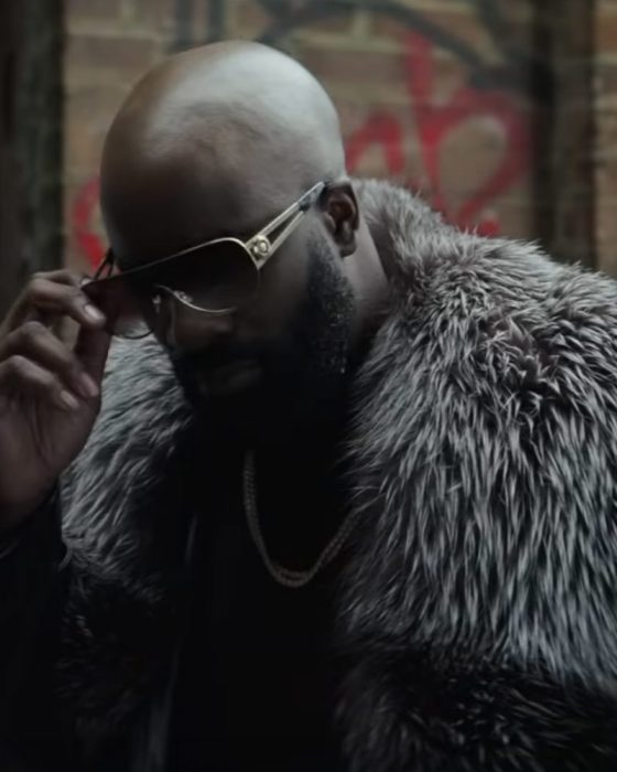 Black and Blue Mike Colter Shearling Fur Coat