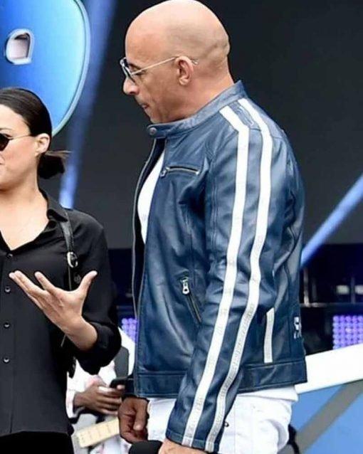 Vin Diesel Concert Miami Concert Miami Leather Blue Jacket