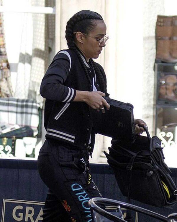 Nathalie Emmanuel Black Bomber Jacket