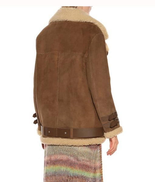 Hailey Baldwin Velocite Brown Leather Fur Jacket