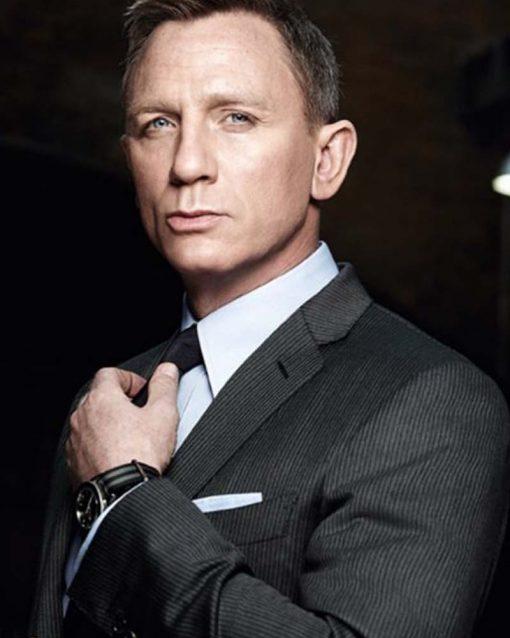 Daniel Craig Grey Wool Pinstripe Suit