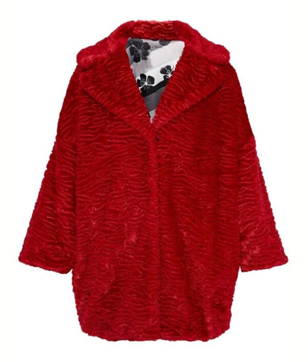 Lucy Hale Fur Red Coat