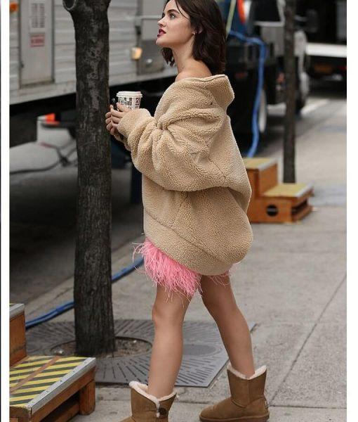 Lucy Hale Oversize Sherpa Wool Jacket