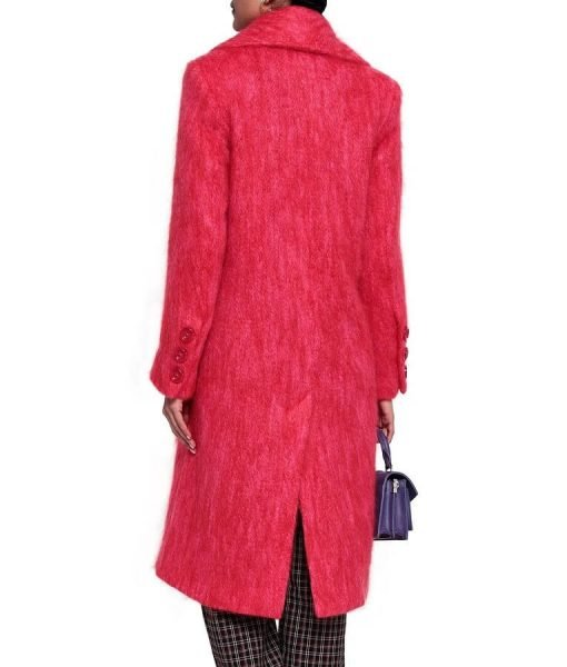 Lucy Hale Red Wool Coat