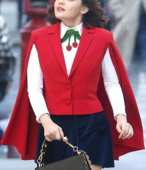 Lucy Hale Red Wool Cape Vest