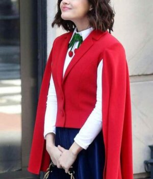 Lucy Hale Red Vest with Cape