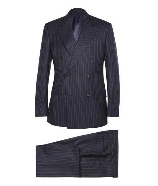 Kingsman Taron Egerton Pinstripe Blue Suit