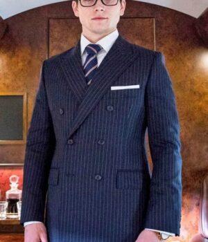 Taron Egerton Kingsman Pinstripe Navy Blue Suit