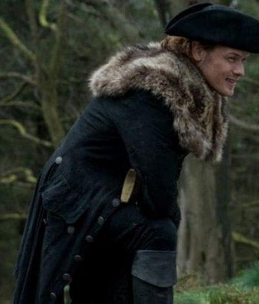 Outlander S04 Sam Heughan Fur Grey Trench Coat