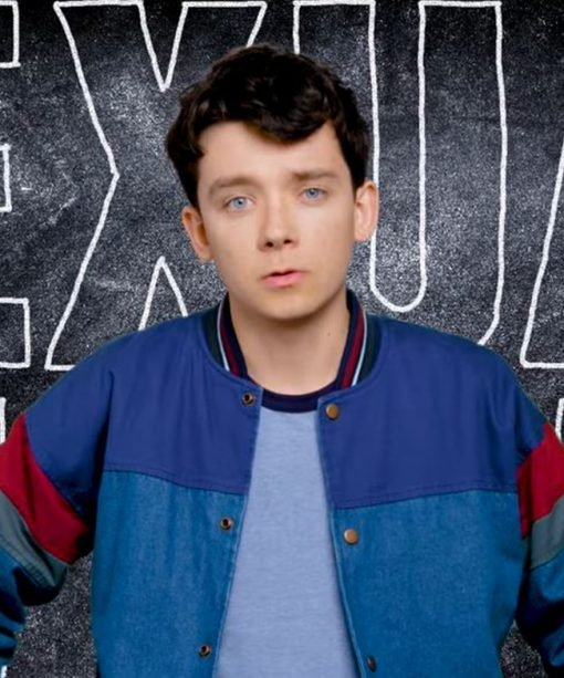 Sex Education Asa Butterfield Blue Bomber Jacket