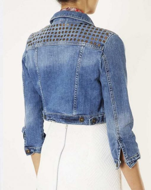 Amanda Zhou Denim Cropped Stud Jacket