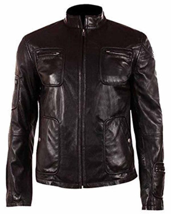 Chris Pine Black Leather Jacket