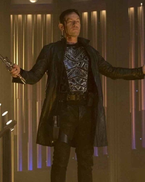 Jason Isaacs Black Leather Trench Coat