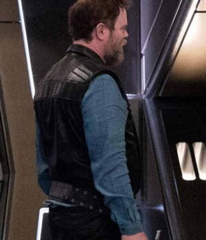 Rainn Wilson Black Leather Vest