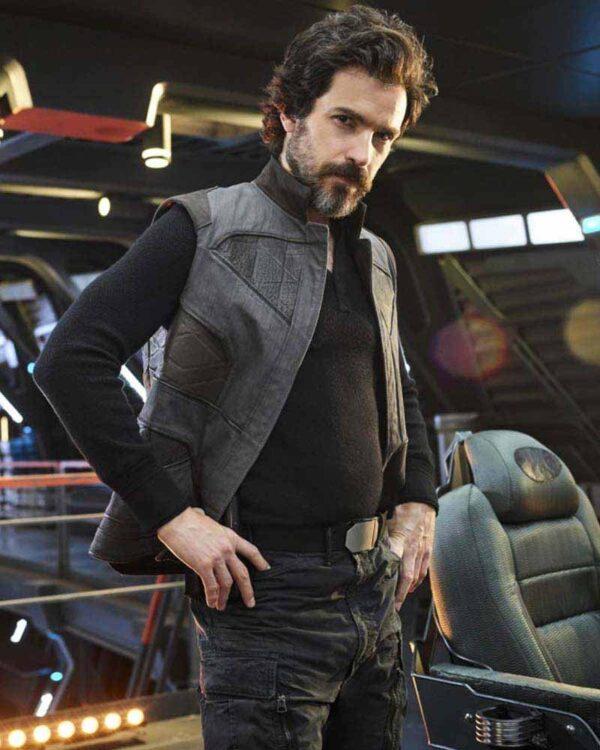 Santiago Cabrera Grey Leather Vest