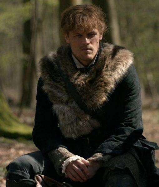 TV Series Outlander S04 Sam Heughan Fur Grey Coat