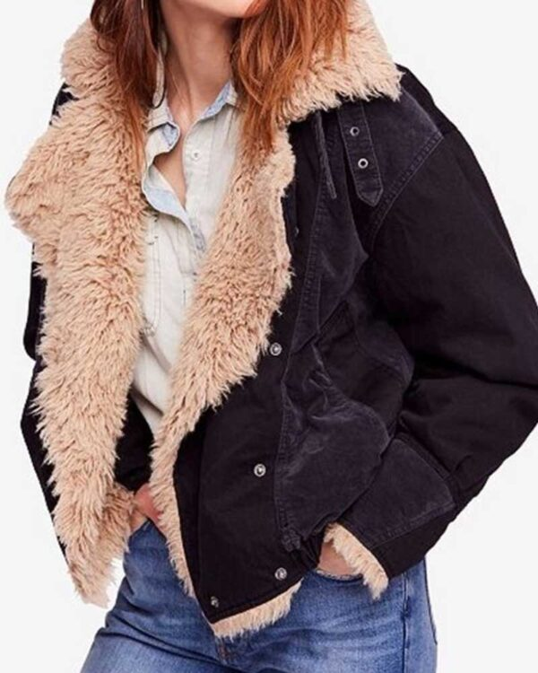 Black Sherpa Taylor Swift Denim Fur Jacket