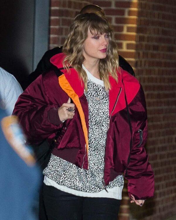 Taylor Swift Bomber Burgundy Jacket