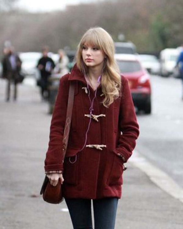 Taylor Swift Bound Seam Toggle Maroon Coat