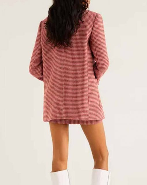 Taylor Swift Houndstooth Pink Coat