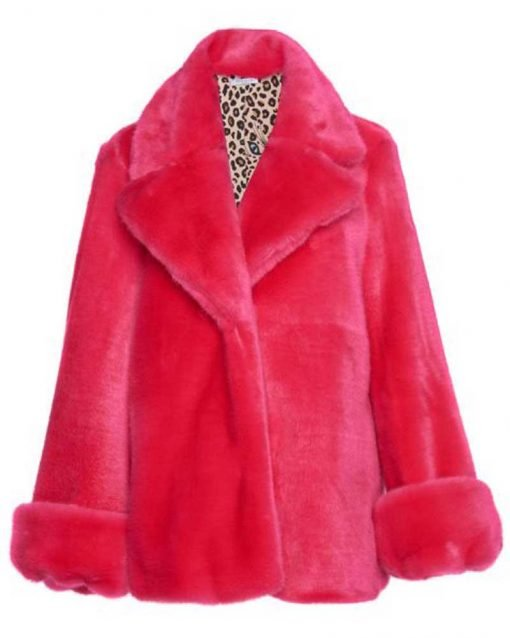 Taylor Swift Pink Fur Faux Jacket Coat