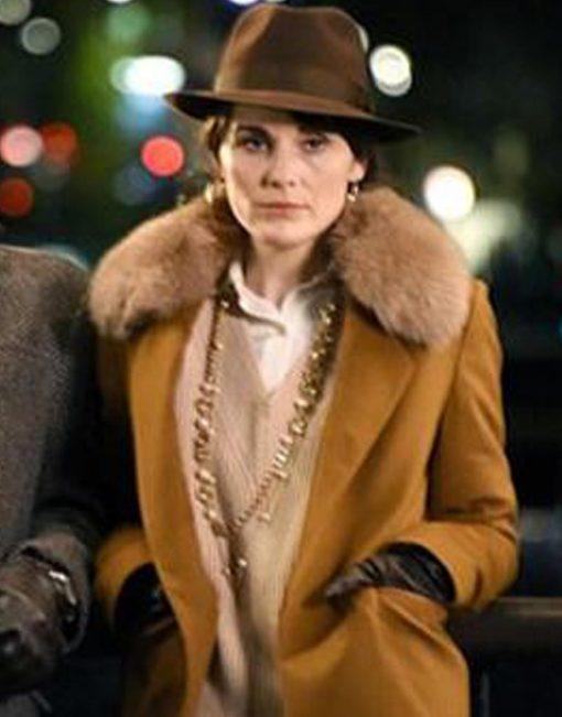 Michelle Dockery Brown Wool Shearling Coat