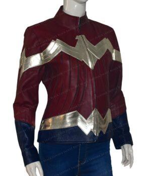 Wonder Woman Maroon Leather Jacket | Gal Gadot Maroon Jacket