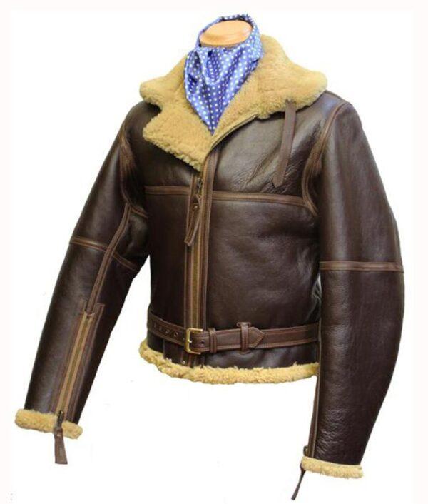 WW2 RAF Sheepskin Brown Fur Leather Jacket