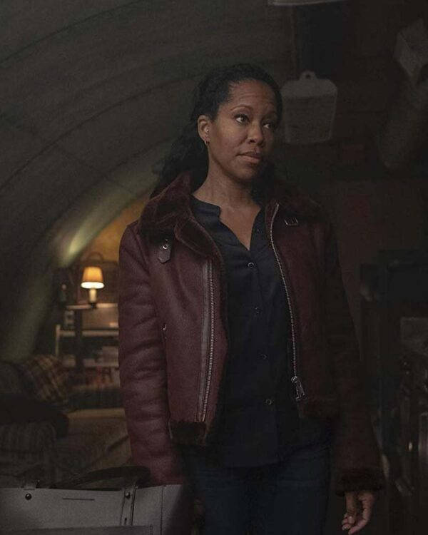 Regina King Brown Leather Jacket