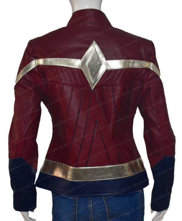 Wonder Woman Maroon Leather Jacket   Gal Gadot Maroon Jacket