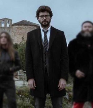 TV Series Money Heist El Profesor Black Trench Coat