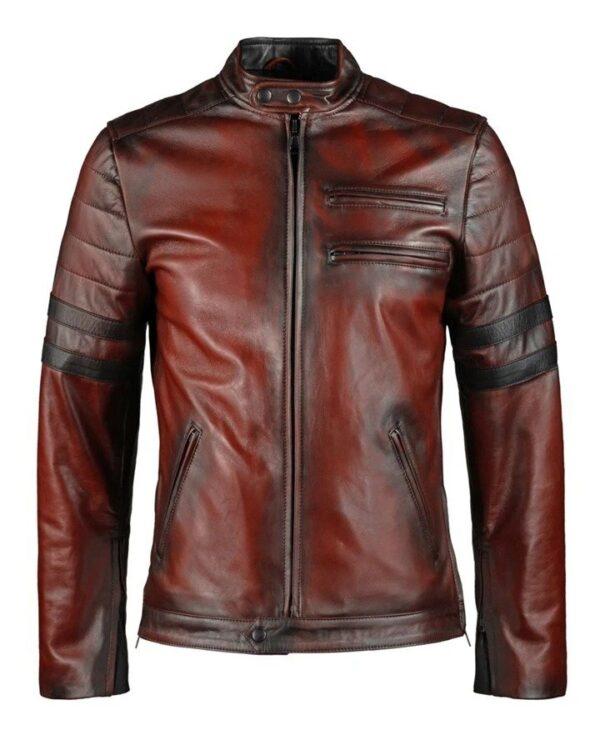 Hybrid Black Leather Jacket Cafe Racer Style (2)