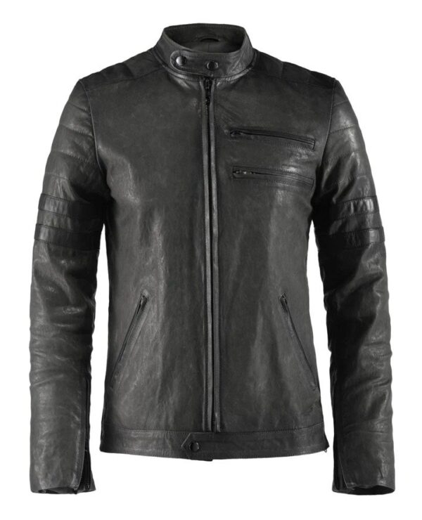 Hybrid Black Leather Jacket Cafe Racer Style (3)