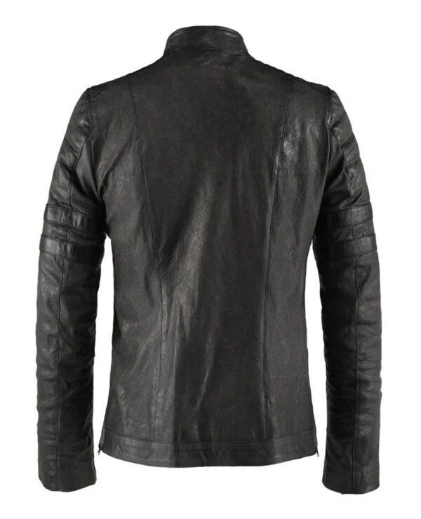 Hybrid Black Leather Jacket Cafe Racer Style (6)