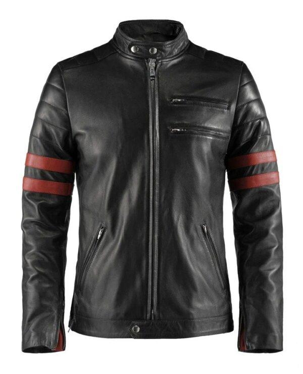 Hybrid Black Leather Jacket Cafe Racer Style