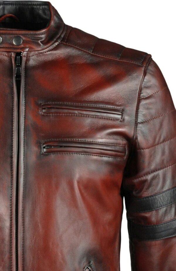 Hybrid Black Leather Jacket Cafe Racer Style (7)