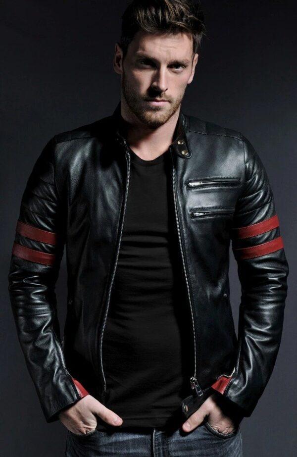 Hybrid Black Leather Jacket Cafe Racer Style (8)
