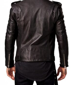 Biker Jacket Black Slim Fit