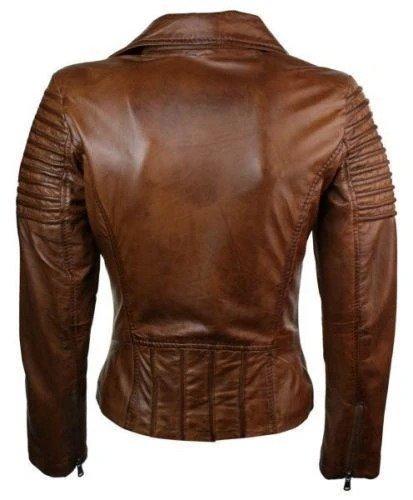 Brown Biker Jacket Slim Fit Waxed Women Real Leather 2