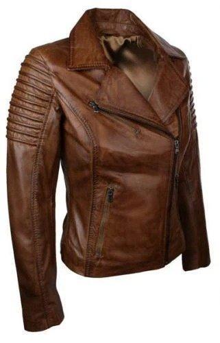 Brown Biker Jacket Slim Fit Waxed Women Real Leather 3