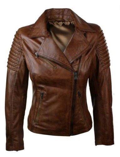 Brown Biker Jacket Slim Fit Waxed Women Real Leather