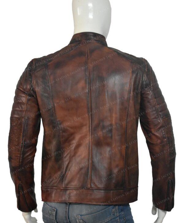 Brown Distressed Cafe Racer Mens Biker Vintage Motorcycle Leather Jacket Back