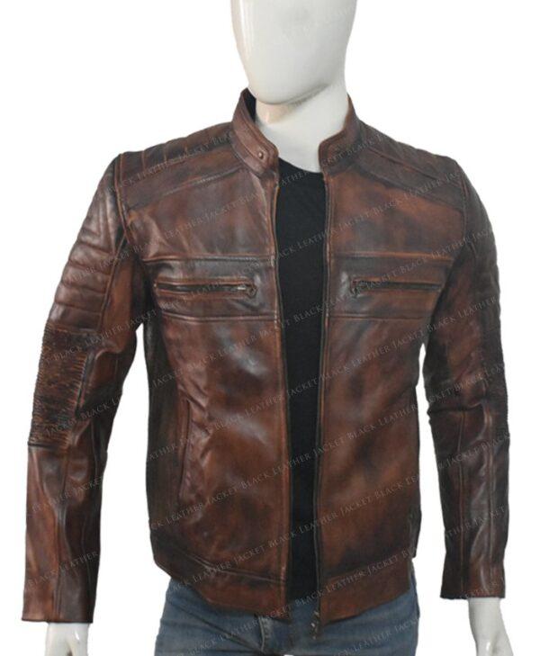 Brown Distressed Cafe Racer Mens Biker Vintage Motorcycle Leather Jacket Inside