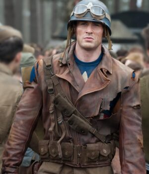 Captain America Brown Real Leather Jacket The First Avengers Distressed