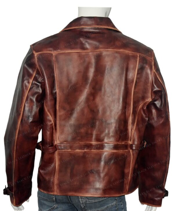 Captain America Brown Real Leather Jacket The First Avengers Distressed Back