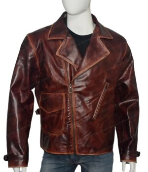 Captain America Brown Real Leather Jacket The First Avengers Distressed Front